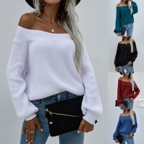 Sexy Off-shoulder Boat Neck Long Sleeve Solid Color Knit Sweater
