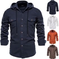 Casual Style Long Sleeve Hooded Solid Color Man's Shirt
