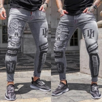 Chic Style Middle Waist Slim Fit Printed Man's Jeans