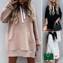 Casual Style Long Sleeve Side Slit Hem Loose Hooded Sweatshirt Hoodies