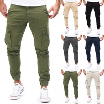 Casual Style Solid Color Side-pocket Man's Pants