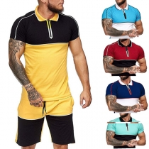 Fashion Contrast Color Short Sleeve POLO Collar T-shirt + Shorts Man's Sports Suit
