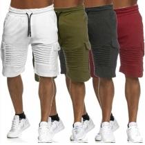 Fashion Solid Color Drawstring Waist Side-pocket Man's Knee-length Shorts