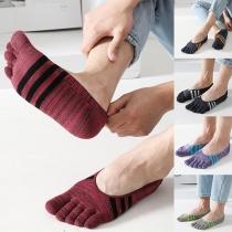 Retro Style Contrast Color Stripe Spliced Separate-toe Ankle Socks for Man