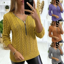 Fashion Solid Color Long Sleeve Zipper V-neck Sweater