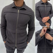 Fashion Solid Color Long Sleeve POLO Collar Front-zipper Man's Jacket