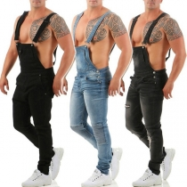 Fashion Middle Waist Slim Fit Ripped Man's Denim Overalls