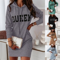 Casual Style Long Sleeve Hooded Letters Printed Sweatshirt