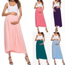 Fashion Sleeveless Round Neck Contrast Color Summer Dress for Pregnant Woman