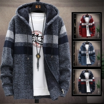 Fashion Contrast Color Long Sleeve Hooded Plush Lining Man's Knit Coat