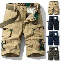 Fashion Camouflage Printed Middle-waist Side-pocket Man's Knee-length Shorts