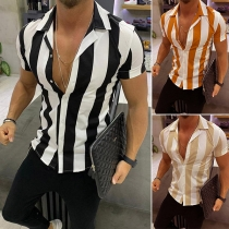 Fashion Short Sleeve POLO Collar Single-breasted Man's Stripe Shirt