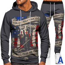 Casual Style Colorful Flag Printed Long Sleeve Hooded Sweatshirt + Pants Man's Sports Suit