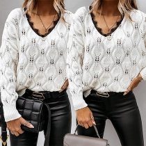 Fashion Lace Spliced V-neck Long Sleeve Hollow Out Knit Sweater