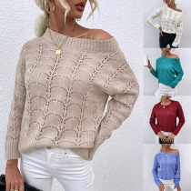 Fashion Solid Color Long Sleeve Round Neck Hollow Out Knit Sweater
