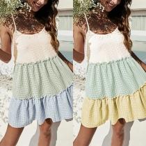 Fresh Style Contrast Color Plaid Hem Loose Sling Dress