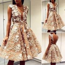 Sexy Deep V-neck Sleeveless High Waist Lace Spliced Party Dress