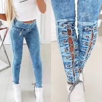 Fashion High Waist Keyhole Lace-up Slim Fit Jeans