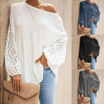 Sexy Hollow Out Lantern Sleeve Oblique Shoulder Solid Color Loose T-shirt