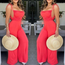 Sexy Backless High Waist Solid Color Wide-leg Sling Jumpsuit