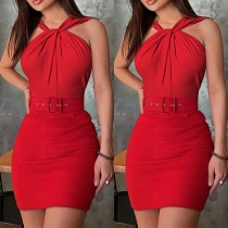 Sexy Off-shoulder Solid Color Twisted Halter Dress with Waistband