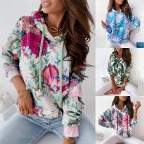 Fashion Long Sleeve Hooded Colorful Printed Sweatshirt