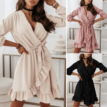 Sexy V-neck Irregular Ruffle Hem Solid Color Long Sleeve Dress