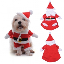 Cute Style Contrast Color Plush Spliced Christmas Outfit for Pets