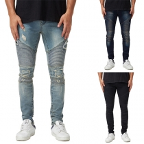 Fashion Middle Waist Ripped Slim Fit Wrinkled Jeans for Man