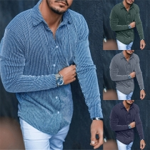 Fashion Long Sleeve POLO Collar Single-breasted Man's Stripe Shirt