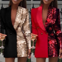 OL Style Long Sleeve Sequin Spliced Double-breasted Slim Fit Blazer Coat