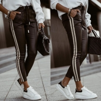 Casual Style Elastic Drawstring Waist Side Stripe PU Leather Pants