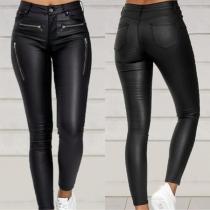 Fashion High Waist Slim Fit Zipper Pocket PU Leather Pants