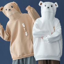 Cute Bear Ear Hooded Long Sleeve Loose Sweatshirt
