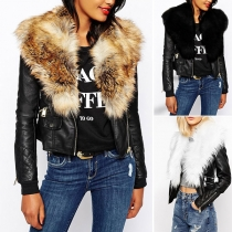 Fashion Faux Fur Collar Long Sleeve Short-style PU Leather Jacket Coat
