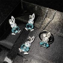 Cute Style Rhinestone Rabbit Shape Ring/Stud Earrings/Pendant