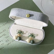 Fresh Style Contrast Color Peas Bow-knot Stud Earrings with Box