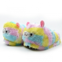 Cute Style 3D Alpaca Shape Colorful Home-wear Slippers