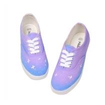 Gradient Blue Starry Sky  Canvas Shoes
