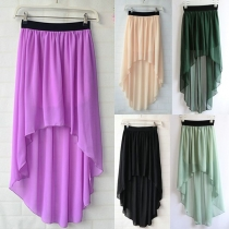Sweet Candy Color High-low  Dip Hem Pleated Elasticated Waistband Skirt