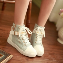Casual Lace Up Stud Buckle Zip Canvas Sneaker Shoes