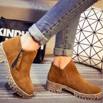 British Style Thick Heel Round Toe Ankle Martin Booties
