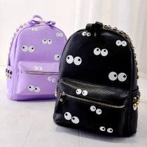 Cartoon Style Big Eyes Pattern Rivets Backpack