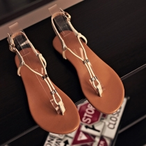 Fashion Flat Heel Belt Buckle Thong Sandals