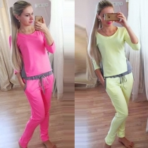 Fashion Contrast Color Casual Sports Suit