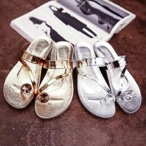 Fashion Flat Heel Rhinestone Open Toe Sandals Slippers