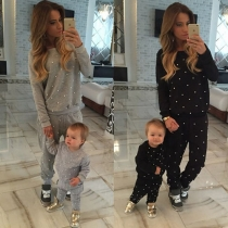 Fashion Long Sleeve Round Neck Hand-beaded Sports Suit