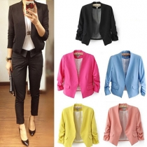 OL Style Puff Sleeve Solid Color Blazer