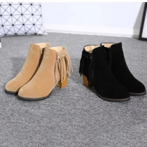 Fashion Round Toe Thick Heel Tassel Knight Boots Booties