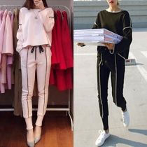 Fashion Solid Color Long Sleeve Sports Suit